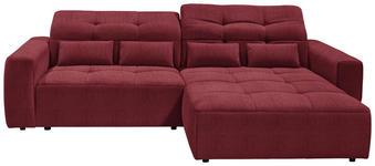 WOHNLANDSCHAFT in Textil Rot - Rot/Schwarz, MODERN, Kunststoff/Textil (298/202cm) - Hom`in