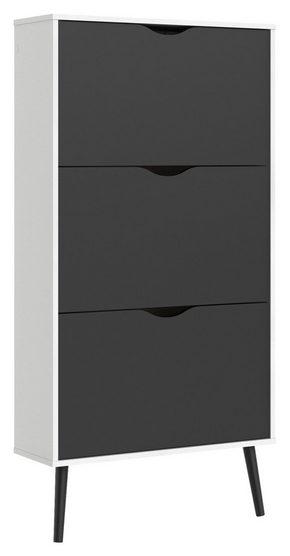 SKOSKÅP - vit/svart, Design, trä/träbaserade material (70,2/138,8/23,9cm) - Hom`in