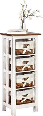 KOMMODE in massiv Mahagoni Braun, Weiß - Weiß/Braun, LIFESTYLE, Holz/Holzwerkstoff (38/92/28cm) - Ambia Home