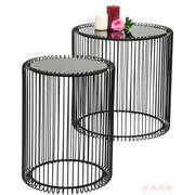 BEISTELLTISCHSET rund Schwarz - Schwarz, Design, Glas/Metall (44/45/44cm) - Kare-Design