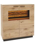 HIGHBOARD Kerneiche vollmassiv matt, lackiert, gebürstet, gewachst - Eichefarben/Anthrazit, Design, Glas/Holz (115/116/44cm) - Valnatura