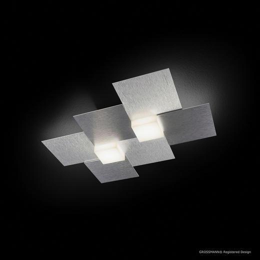 LED-DECKENLEUCHTE - Alufarben, Design, Metall (38,5/33,0/5,2cm)