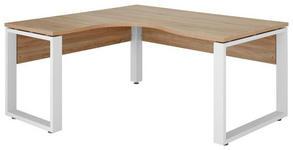ECKSCHREIBTISCH Sonoma Eiche, Weiß - Weiß/Sonoma Eiche, Design, Metall (140/75,6/160cm) - Voleo