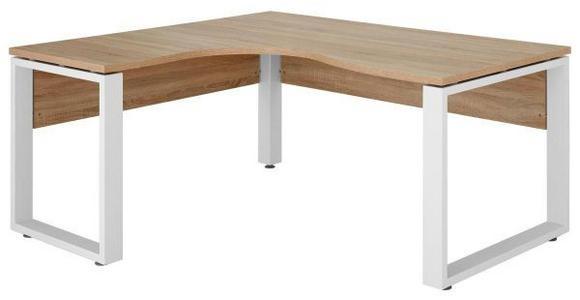 ECKSCHREIBTISCH - Weiß/Sonoma Eiche, KONVENTIONELL, Holzwerkstoff/Metall (140/75,6/160cm) - Voleo