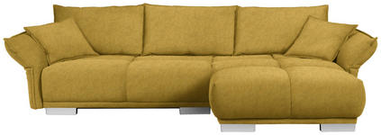WOHNLANDSCHAFT in Textil Gelb  - Chromfarben/Gelb, MODERN, Kunststoff/Textil (310/203cm) - Hom`in