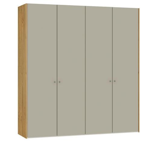 FALTTÜRENSCHRANK 4-türig Eiche furniert Eichefarben, Sandfarben  - Sandfarben/Eichefarben, Design, Glas/Holz (205,1/220/58,5cm) - Jutzler