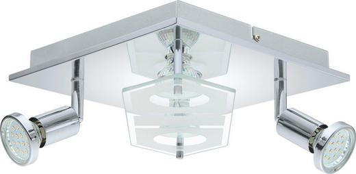 LED-DECKENLEUCHTE - Chromfarben, Design, Glas/Kunststoff (25/25/7cm) - Novel