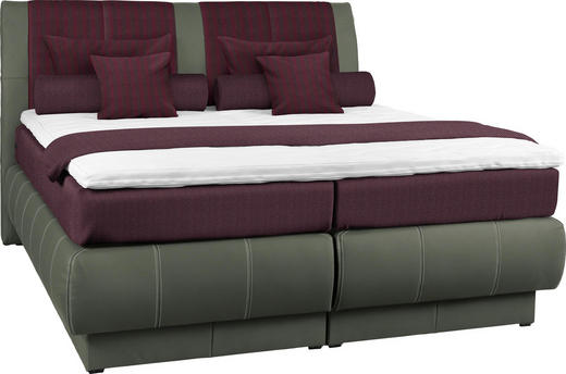 BOXSPRINGBETT 200/200 cm  in Grau, Rot - Rot/Grau, KONVENTIONELL, Leder/Textil (200/200cm) - Dieter Knoll