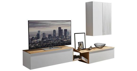 WOHNWAND in Grau, Weiß, Eichefarben  - Eichefarben/Weiß, Design, Glas/Holz (300/187/47cm) - Dieter Knoll