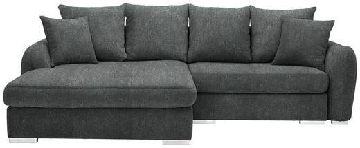 WOHNLANDSCHAFT in Textil Grau - Chromfarben/Grau, Design, Kunststoff/Textil (195/275cm) - Carryhome