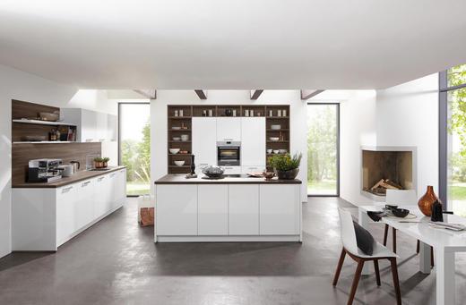 EINBAUKÜCHE - Nussbaumfarben/Weiß, Design - Nolte Küchen