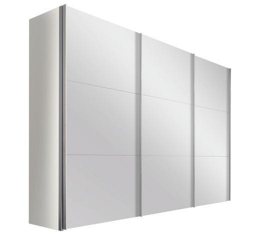 SCHWEBETÜRENSCHRANK in Weiß - Alufarben/Weiß, Design, Glas/Holzwerkstoff (300/236/68cm) - Hom`in