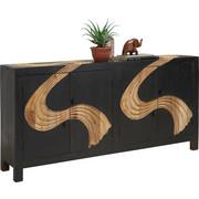 KOMODA - černá/přírodní barvy, Trend, kov/dřevo (180/90/40cm) - Ambia Home