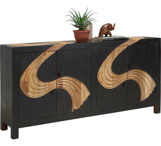 KOMODA, mangové dřevo, přírodní barvy, černá - černá/přírodní barvy, Trend, kov/dřevo (180/90/40cm) - Ambia Home
