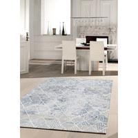 Webteppich - Blau/Weiß, Design, Naturmaterialien/Textil (160/230cm) - Novel