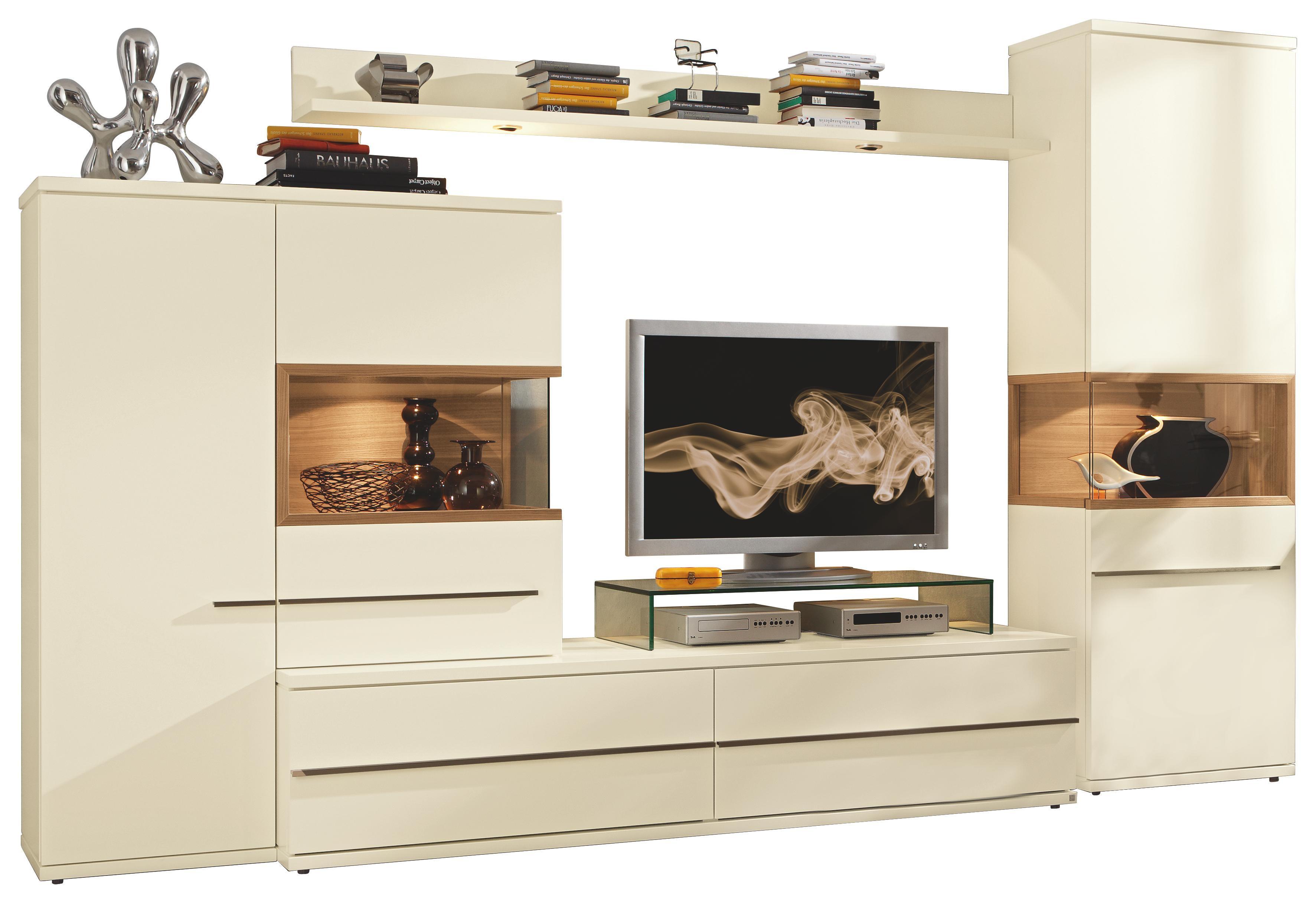 WOHNWAND Strukturbuche Furniert Weiß   Alufarben/Weiß, Design, Holz/Metall  (320