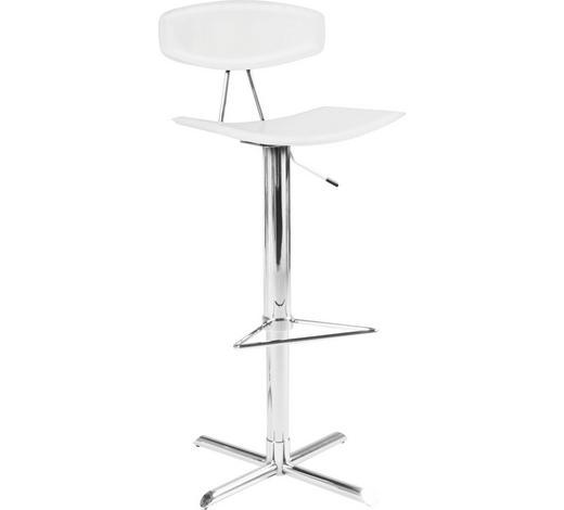 BARSKA STOLICA - bijela/boje kroma, Design, koža/metal (43/103/42cm) - Xora