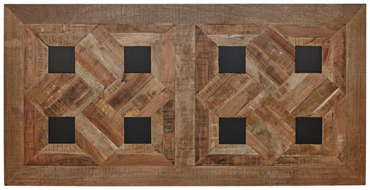 TISCHPLATTE Mangoholz massiv Hellbraun, Schwarz - Hellbraun/Schwarz, Trend, Holz/Metall (180/90/3,8cm) - Valdera