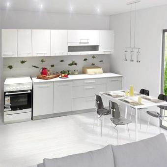 KUCHYŇSKÝ BLOK - bílá/šedá, Konvenční, dřevěný materiál (200cm)