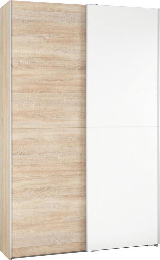 MEHRZWECKSCHRANK Sonoma Eiche, Weiß - Weiß/Sonoma Eiche, KONVENTIONELL, Holzwerkstoff (125/195/38cm)