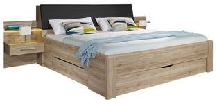 BETT 180/200 cm  in Eichefarben   - Eichefarben/Dunkelbraun, Design, Holzwerkstoff/Textil (180/200cm) - Carryhome