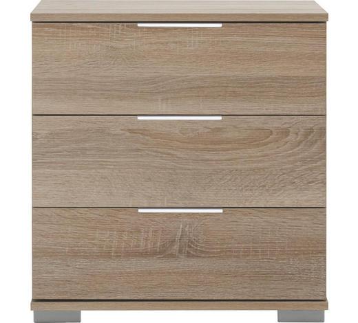 NACHTKÄSTCHEN in Eichefarben - Chromfarben/Eichefarben, Design, Holzwerkstoff/Kunststoff (52/58/38cm) - Carryhome