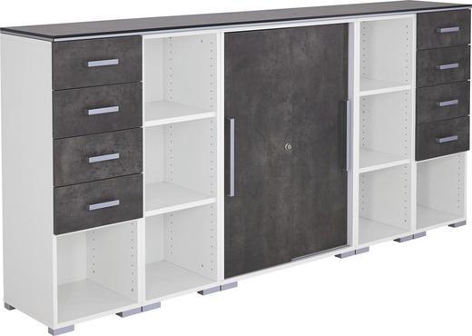 ANRICHTE melaminharzbeschichtet - Hellgrau/Alufarben, Design, Holzwerkstoff/Kunststoff (240cm) - MODERANO