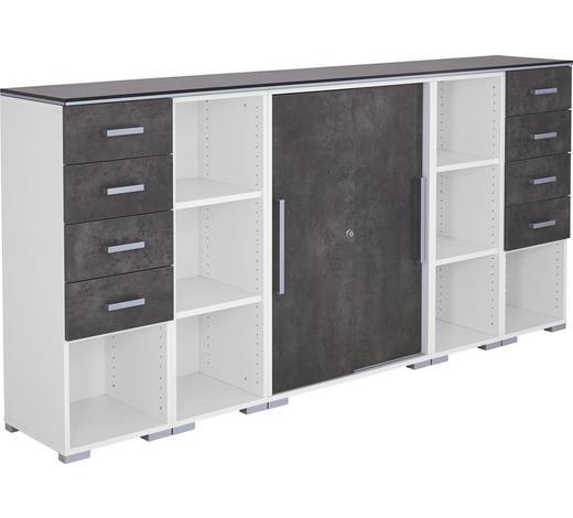 ANRICHTE in Grau, Weiß - Hellgrau/Alufarben, Design, Holzwerkstoff/Kunststoff (240cm)