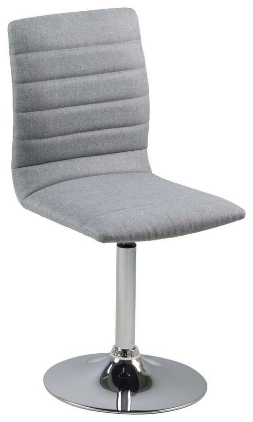 STUHL Webstoff Hellgrau - Chromfarben/Hellgrau, Design, Textil/Metall (42/91/55cm) - Carryhome