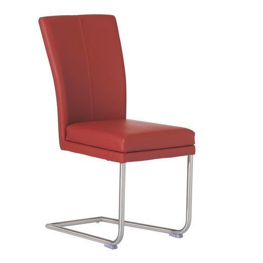 SCHWINGSTUHL Echtleder Edelstahlfarben, Rot - Edelstahlfarben/Rot, Design, Leder/Metall (44/98/58cm) - Valdera