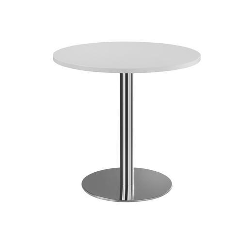 KONFERENZTISCH in Metall, Holzwerkstoff  - Chromfarben/Weiß, KONVENTIONELL, Holzwerkstoff/Metall (80cm)