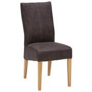 STOL - mörkgrå/ekfärgad, Klassisk, trä/textil (44/98/64cm) - Venda
