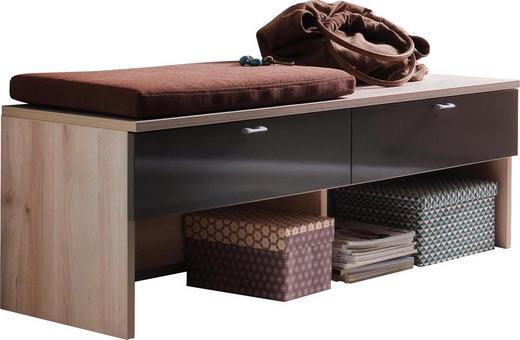 GARDEROBENBANK Braun, Buchefarben - Buchefarben/Silberfarben, Design, Metall (118/41/42cm) - Cassando