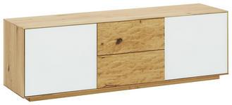 GARDEROBENBANK Eiche massiv, vollmassiv Weiß, Eichefarben - Eichefarben/Weiß, Natur, Glas/Holz (138/44/37cm) - Valnatura