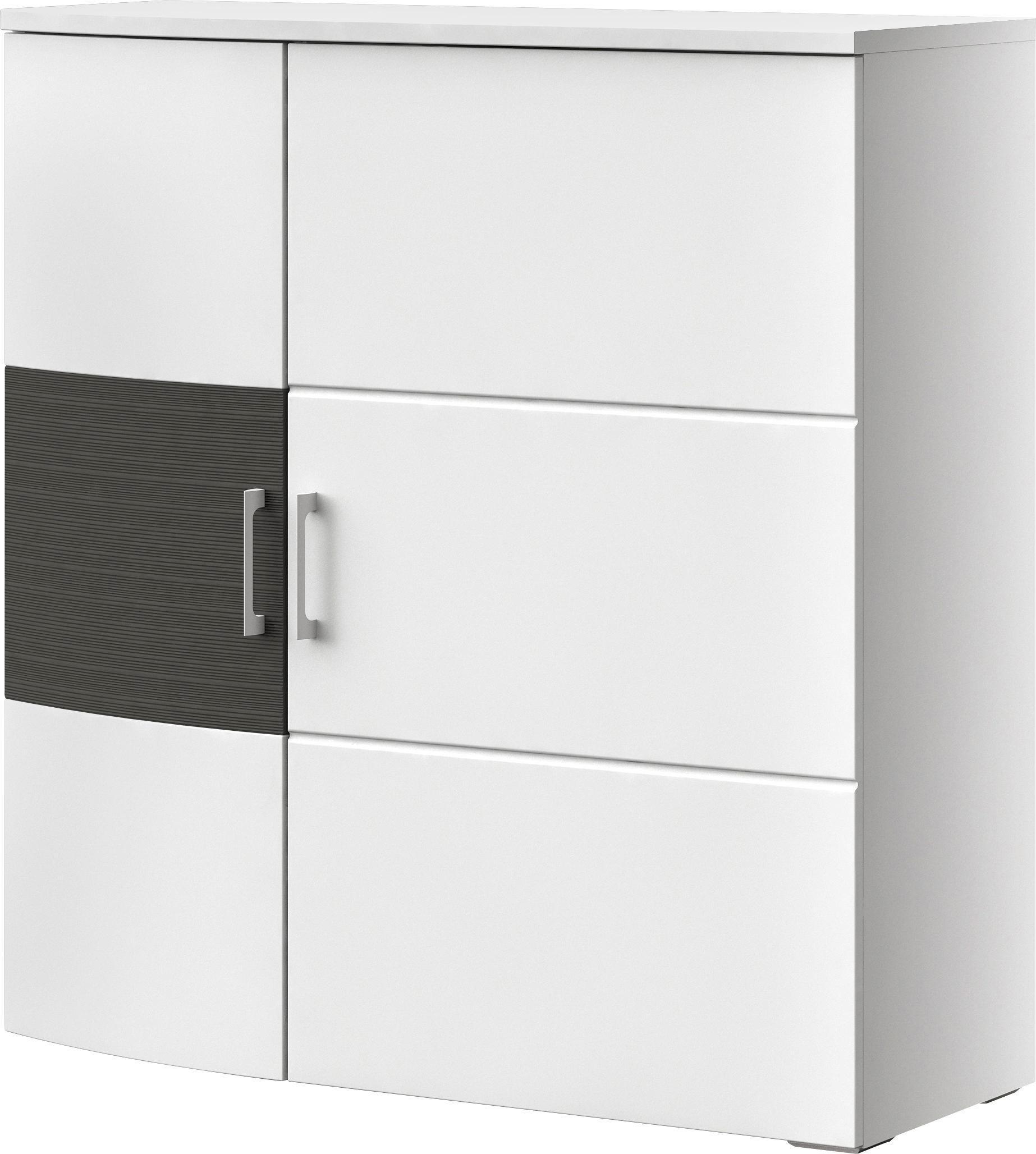 KOMMODE Graphitfarben, Weiß - Chromfarben/Graphitfarben, MODERN, Holzwerkstoff/Kunststoff (105/104,9/40cm) - XORA