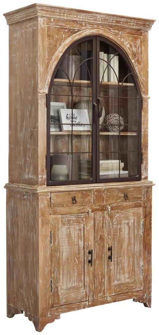 VITRINE in massiv Mangoholz Naturfarben, Weiß - Naturfarben/Braun, Trend, Glas/Holz (100/210/46cm) - Ambia Home