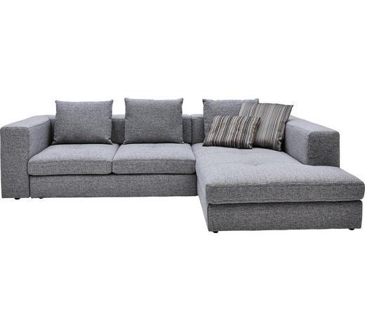 WOHNLANDSCHAFT in Textil Grau - Schwarz/Grau, Design, Kunststoff/Textil (304/194cm) - Dieter Knoll