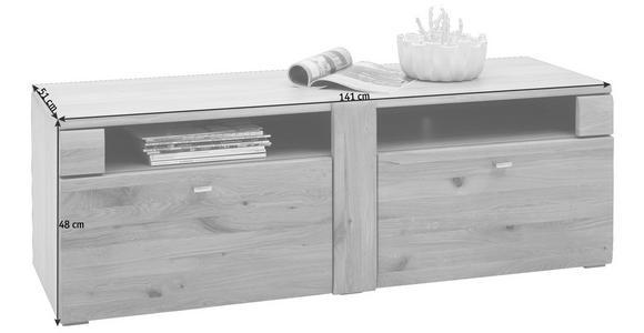 LOWBOARD 141/48/51 cm - Eichefarben/Alufarben, KONVENTIONELL, Holz/Holzwerkstoff (141/48/51cm) - Voleo