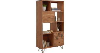 REGAL 80/155/35 cm akacija, bron  - bron/medenina, Trend, kovina/leseni material (80/155/35cm) - Ambia Home