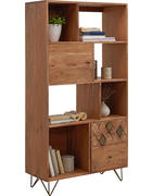 REGÁL, akácie, masivní, barvy akácie, bronzová - bronzová/barvy mosazi, Trend, kov/dřevo (80/155/35cm) - Ambia Home