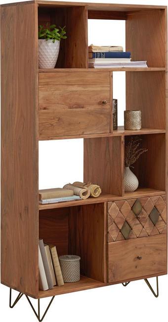 REGAL Akazie massiv Akaziefarben, Bronzefarben - Messingfarben/Bronzefarben, Trend, Holz/Metall (80/155/35cm) - Ambia Home