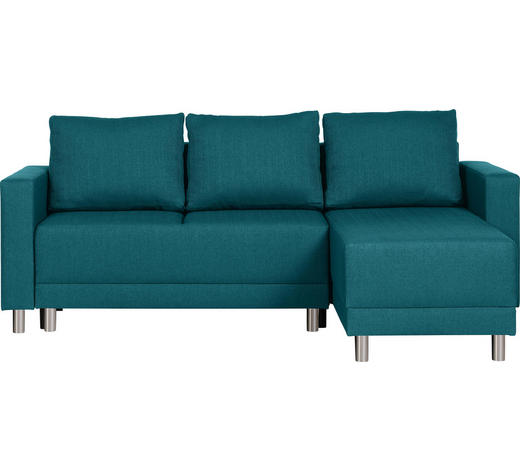 WOHNLANDSCHAFT in Textil Petrol  - Silberfarben/Petrol, Design, Kunststoff/Textil (215/145cm) - Carryhome