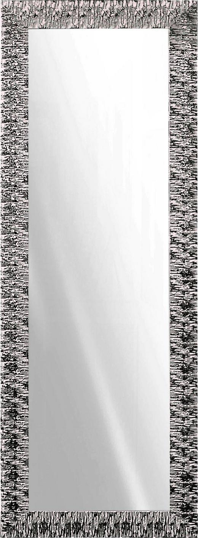 WANDSPIEGEL Silberfarben, Weiß - Silberfarben/Weiß, Design, Glas/Holz (55/155cm)