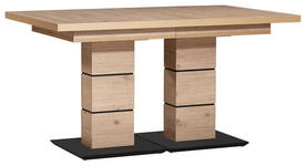 ESSTISCH rechteckig Schwarz, Eichefarben  - Eichefarben/Schwarz, Design (140(220)/90/75cm) - Dieter Knoll