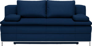 BOXSPRINGSOFA in Textil Dunkelblau  - Chromfarben/Dunkelblau, Design, Textil/Metall (200/93/107cm) - Novel