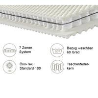 TASCHENFEDERKERNMATRATZE ORTHO STAR PLUS 90/200 cm 26 cm - Weiß, KONVENTIONELL, Textil (90/200cm) - Novel