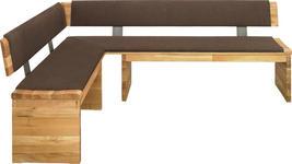ECKBANK in Holz, Textil Braun, Eichefarben - Eichefarben/Braun, KONVENTIONELL, Holz/Textil (150/210cm) - Linea Natura