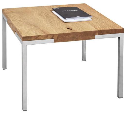 COUCHTISCH in Holz, Metall 50/50/34 cm - Edelstahlfarben/Eichefarben, Design, Holz/Metall (50/50/34cm) - Novel