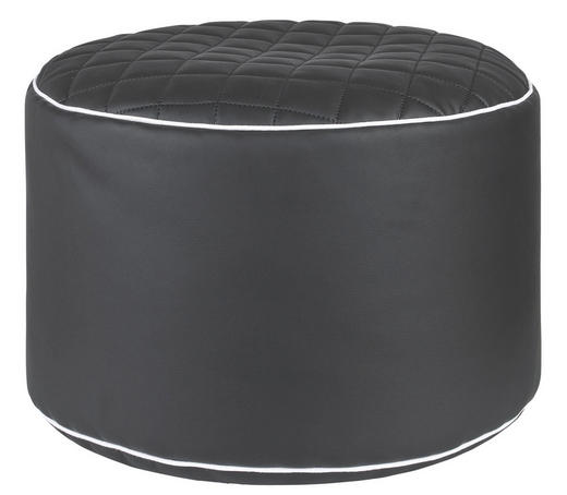 HOCKER Lederlook Schwarz - Schwarz/Weiß, Design, Textil (50/30cm) - Carryhome