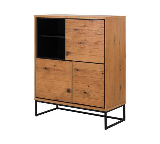 KOMMODE 102,2/124,7/45 cm - Eichefarben/Schwarz, Natur, Holzwerkstoff/Metall (102,2/124,7/45cm) - Carryhome